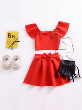 Load image into Gallery viewer, Little Red Two Piece With Off Shoulder Short Sleeves