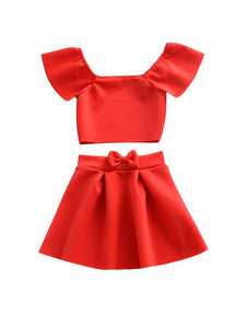 Little Red Two Piece With Off Shoulder Short Sleeves