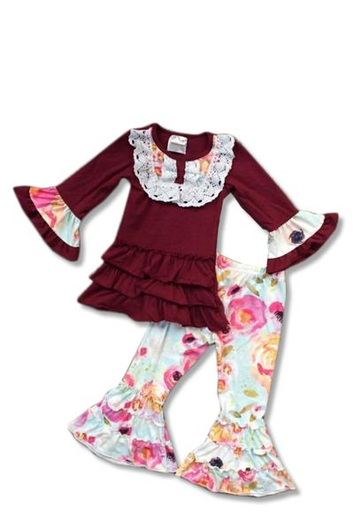 Burgundy and Floral Outfit With Ruffles