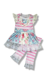 Pretty Outfit With Pink And White Stripes and Floral Design
