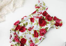 Load image into Gallery viewer, Ruby Red Rose Romper