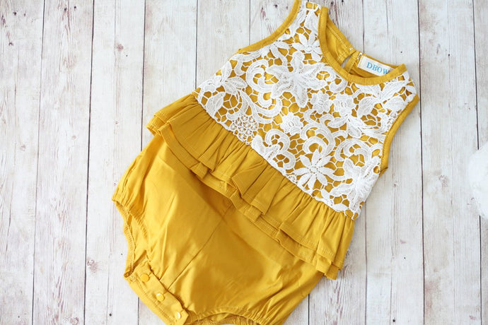 Mustard And Lace Romper
