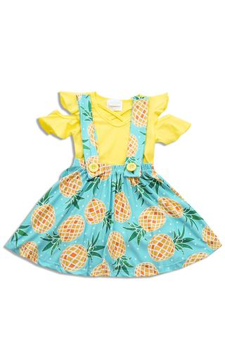 Yellow And Green Pineapple Print Strap dress