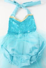 Load image into Gallery viewer, beautiful ice princess themed romper with a sequin top and tulle skirt
