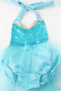 beautiful ice princess themed romper with a sequin top and tulle skirt
