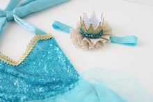 Load image into Gallery viewer, beautiful ice princess themed romper with sequin top and tulle skirt