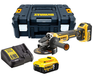 DeWalt - 125 mm cordless grinder with kit and battery charger