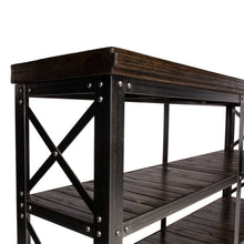 Load image into Gallery viewer, Industrial Rolling Cart with Reclaimed Wood and Steel Base