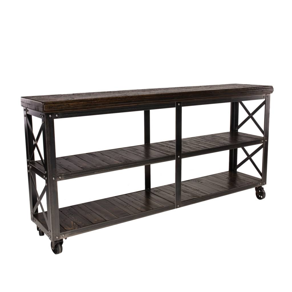 Industrial Rolling Cart with Reclaimed Wood and Steel Base