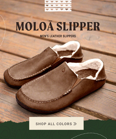 OluKai Shop Menʻs Leather Slipper Moloa Slipper