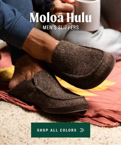 OluKai Shop Menʻs Moloa Hulu Wool Slippers
