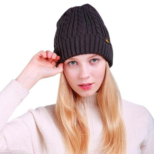 2019 Winter Skullies Beanies Cap Women Warm Weave Winter Wool Knit Ski  Beanie Skull Female Caps bdae4ba5c60