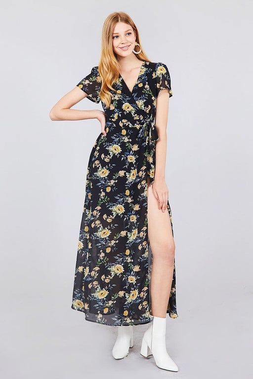 eab88323299 Short Sleeve V-neck Wrapped W bow Tie Floral Print Maxi Dress