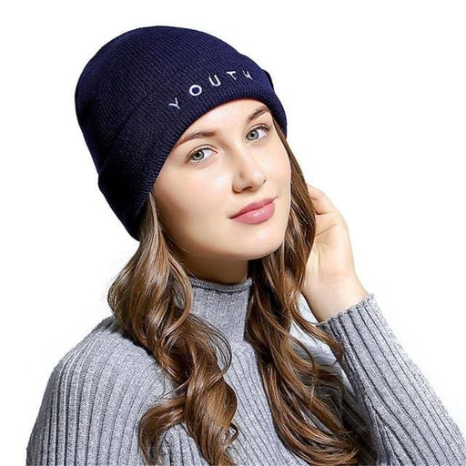 bfb6f8a958e0f Unisex YOUTH Letters Embroidered Beanie Hat Men Women Wool Winter Knitted  Hat Skullies Beanies - Navy