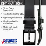 Key features of Classified Nickel Free Black Leather Belt | Hypoallergenic buckle, made in the USA, stitched on nickel-free buckle, modern style, metal-free carbon fiber buckle