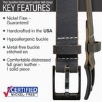 Key features of Classified Nickel Free Gray Distressed Leather Belt | Hypoallergenic buckle, made in the USA, stitched on nickel-free buckle, full grain leather, metal-free carbon fiber buckle