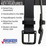 Key features of Specialist Nickel Free Black Leather Belt | Hypoallergenic buckle, made in the USA, stitched on nickel-free buckle, metal-free carbon fiber buckle, modern style