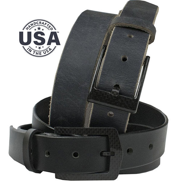 Black and distressed gray leather belts make up this duo, both with 100% carbon fiber buckles make this a zero metal belt set