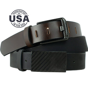 Zero Metal Belt Duo by Nickel Smart - carbonfiberbelts.com, Brown and Black belts custom made in the USA with full grain leather stitched with black carbon fiber buckles, work belt, travel belt