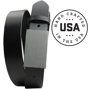 2.0 Black Belt with Silver Weave Buckle by Nickel Smart - carbonfiberbelts.com, made in the USA