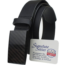Load image into Gallery viewer, Dress black belt has 100% carbon fiber buckle; completely metal free!