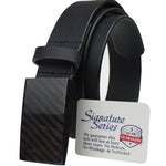 Black leather dress belt has 100% carbon fiber buckle; completely metal free