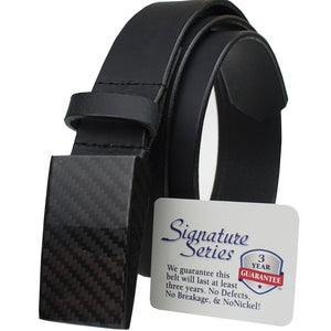 Dress black belt has 100% carbon fiber buckle; completely metal free!