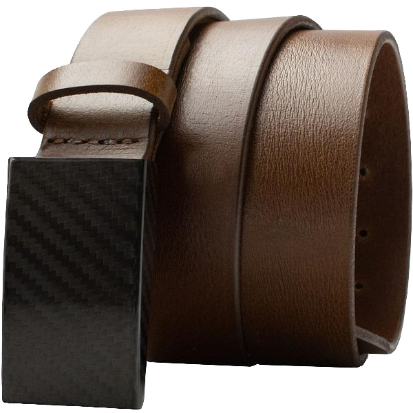 2.0 Brown Belt by Nickel Smart - carbonfiberbelts.com, Brown belt made with genuine leather stitched with black carbon fiber hooked buckle