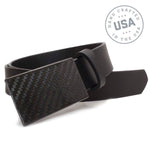 Carbon fiber dress belt in black; perfect for professionals with high security jobs