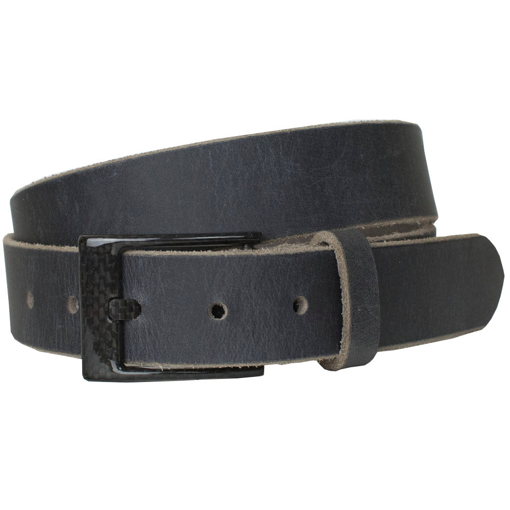 Metal free belt - carbon fiber buckle is stitched to distressed gray leather strap, great traveler's belt!