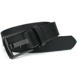 Beep free belt - carbon fiber buckle is stitched to real leather belt, made in USA
