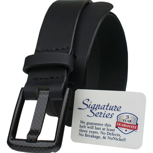 Wide Pin Black Belt Nickel Smart - carbonfiberbelts.com, stitched black carbon fiber buckle