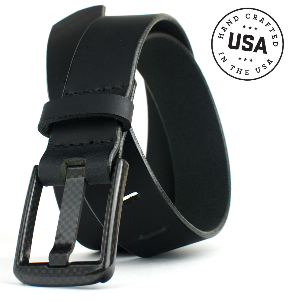 Wide Pin Black Belt by Nickel Smart - carbonfiberbelts.com, Black belt handmade in the USA