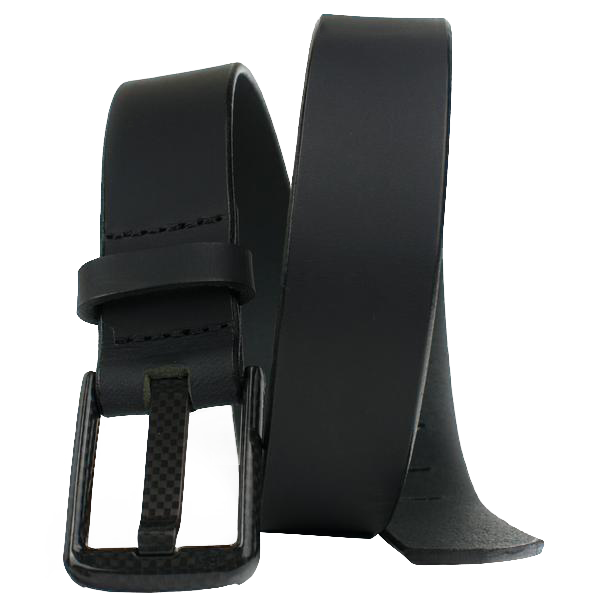 Wide Wide Pin Black Belt Nickel Smart - carbonfiberbelts.com, made with genuine leather