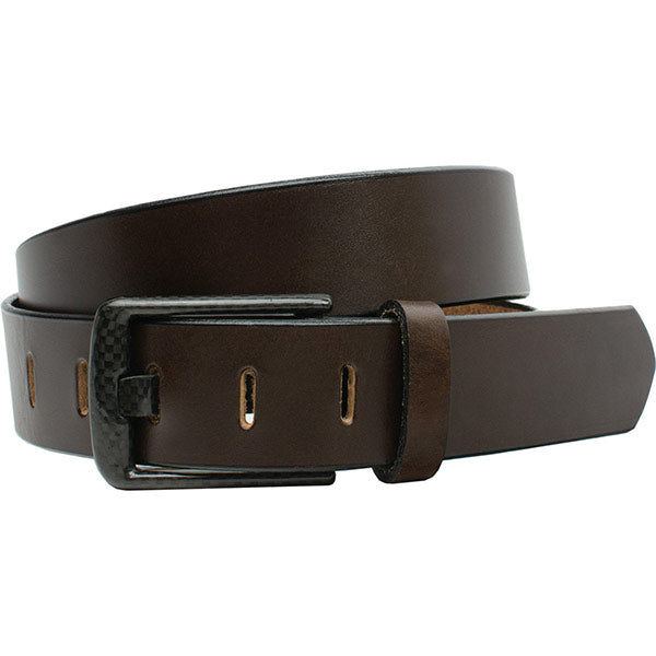 Wide Pin Brown Belt by Smart Nickel - carbonfiberbelts.com, Brown belt handmade in the USA with a stitched brown carbon fiber buckle