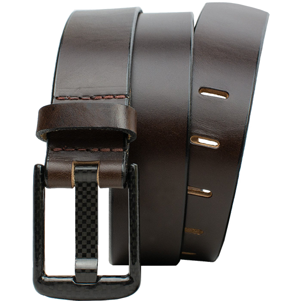 Wide Pin Brown Belt by Nickel Smart - carbonfiberbelts.com, Brown belt made from genuine leather with a stitched brown carbon fiber buckle, nickel free