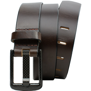 Wide Pin Brown Belt by Nickel Smart - carbonfiberbelts.com, carbon fiber buckle, nickel free