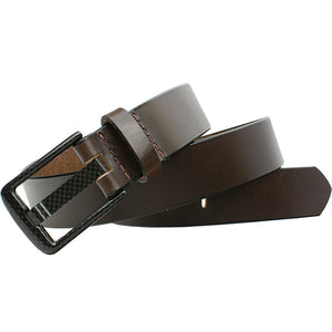 Wide Pin Brown Belt by Smart Nickel - carbonfiberbelts.com, Brown belt with stitched black carbon fiber buckle, no metal, lightweight, TSA friendly