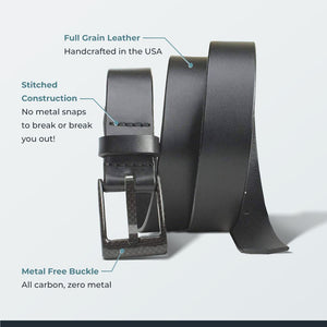 The Classified Black Belt by Smart Nickel - carbonfiberbelts.com, Black belt made with full grain leather in the USA stitched with a carbon fiber black pin buckle, no metal