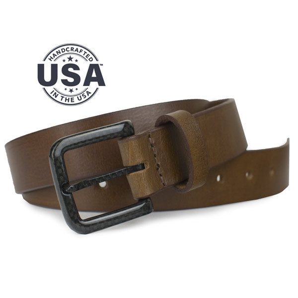 Handcrafted brown leather belt has no metal to set off detectors in security screenings, Made in USA