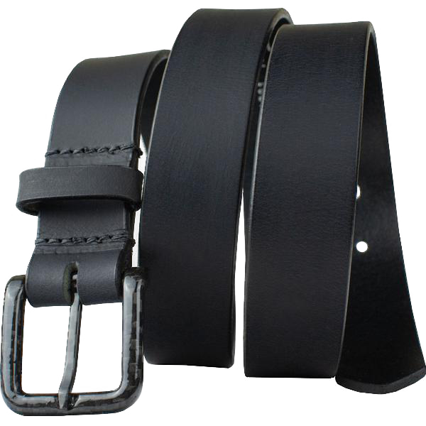 The Specialist Black Belt by Nickel Smart - carbonfiberbelts.com, Black belt made with genuine leather stitched with a black carbon fiber pin buckle, no metal, nickel free, hypoallergenic