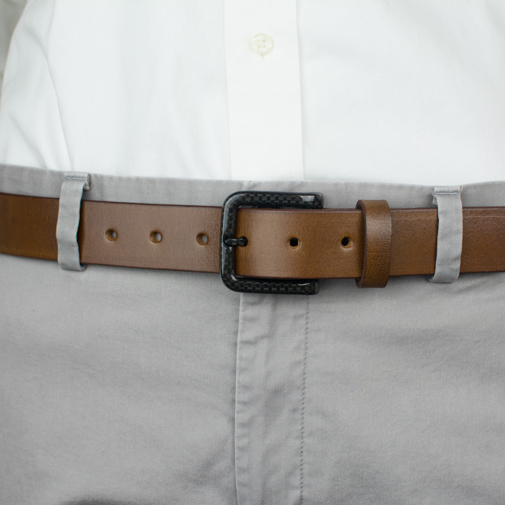 Beep free carbon fiber belt - brown strap adds to versatility making it perfect for air travel