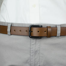 Load image into Gallery viewer, Beep free carbon fiber belt - brown strap adds to versatility making it perfect for air travel