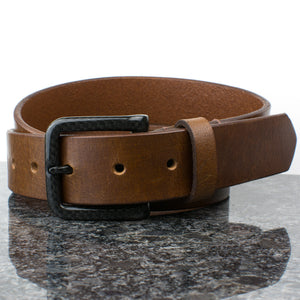 Attractive brown belt has 100% carbon fiber buckle - looks great and is a metal free belt