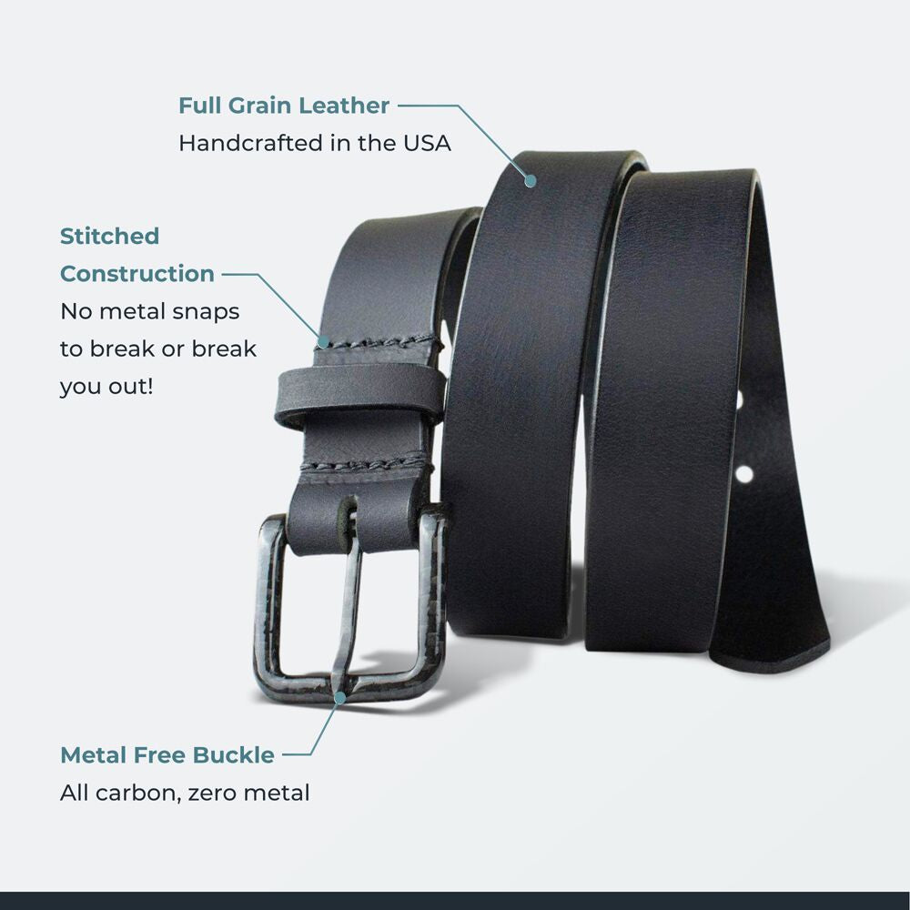 The Specialist Black Belt by Nickel Smart - carbonfiberbelts.com, no metal