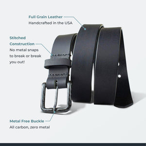 The Specialist Black Belt by Nickel Smart - carbonfiberbelts.com, Black Belt made with full grain leather in the USA stitched with a black carbon fiber pin buckle, no metal