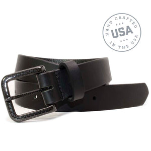 The Specialist Black Belt by Nickel Smart - carbonfiberbelts.com, Black belt made in the USA stitched with a black carbon fiber pin buckle