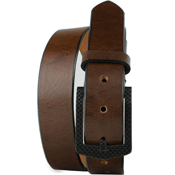 The Stealth Brown Belt by Nickel Smart - carbonfiberbelts.com, carbon fiber pin buckle, work belt
