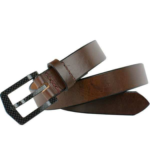 The Stealth Brown Belt by Nickel Smart - carbonfiberbelts.com, Brown belt custom made with genuine leather stitched with a carbon fiber pin buckle, no metal, nickel free