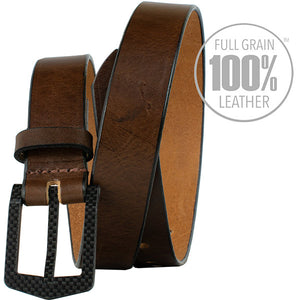 The Stealth Brown Belt by Nickel Smart - carbonfiberbelts.com, Brown belt made in the USA with full grain leather stitched with a black carbon fiber pin buckle